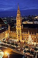 New Rathaus and Marienplatz with Christmas Market, Munich. Bavaria, Germany