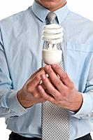 Man holding in hands an economy light bulb