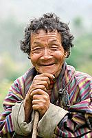 Monpa elder, phrumzur village, jigme singye wangchuck national park, Bhutan