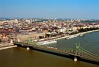 Hungary _ Pest _ View of Pest and Bridge of Liberty