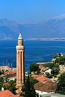 Turkey _ Mediterranean Coast _ Antalya _ Kaleici Quarter _ Clock Tower _ Yivli Minaret