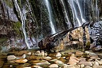 Waterfall in Ason river source, Collados del Ason Natural Park, Cantabria, Spain