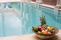 Fruit by swimming pool