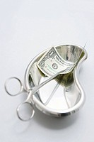 Surgical scissors with a dollar in a bedpan