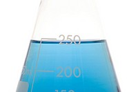 Blue liquid in a volumetric flask