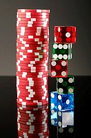 Stacks of dice and gambling chips