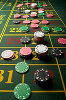 Gambling chips on a roulette table (thumbnail)