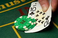 Person playing blackjack