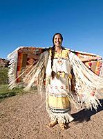 Native American woman in traditional clothing