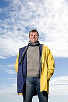Man wearing a raincoat