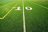 Close up of the 10 yard line in football field