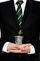 Businessman holding flower pot on palm, close_up