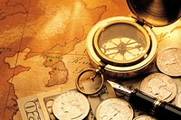 Compass,Coin,Banknote,Fountain Pen,Map