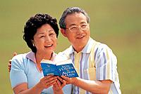 Senior Couple Reading Outdoor,Korea