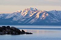 Lake Tahoe and Mt Tallac at dawn from the east shore