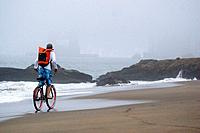 A man riding a cruiser bike on the beach beneath the Golden Gate bridge in San Francisco on a foggy day