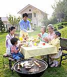 Family Having Meal Outdoor,Korea