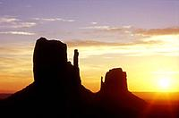 USA Arizona Monument Valley Navajo Tribal Park sunrise over the Left and Right Mittens