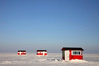 usa, Mille lake, winter, houses, ice_fishing,