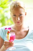 woman, young, blond, cocktail, drinks, portrait, blur,