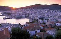 General view, sunset , Kavala, Macedonia East, Greece