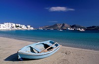 Cyclades, Minor Islands, Koufonisia Blue boat on shore