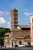 Italy, Rome, church Santa Maria in Cosmedin, piazza Bocca della Verita,