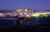 Chora Naxos Town, night scene , Naxos, Cyclades, Greece
