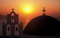 Church, bell, sunset , Santorini, Cyclades, Greece
