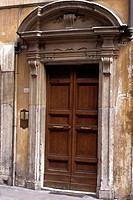 An old doorway in the back streets of Rome, Italy, Rome, Italy, Europe