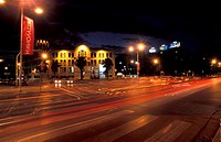 View of Xanth Square at night , Thessaloniki, Macedonia Central , Greece