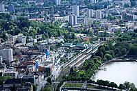 Austria, Vorarlberg, Lake Constance, Bregenz, city_overview, railway station
