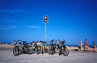 La Playa beach, parking of bicycles, Barcelona, Spain, Europe