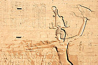 Picture of Ptolemy IX on the wall of Horus temple in Edfu, Egypt