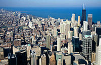 View from Hancock tower. Chicago. Illinois, USA