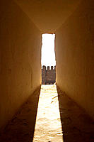 Battlement seen through window, alcazaba. Granada. Andalusia, Spain