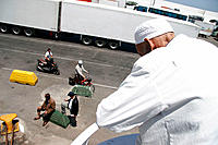 Moroccan man leaving the port of Tanger. Morocco
