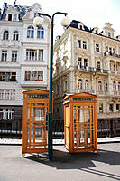 Phone booths in Karlovy Vary. West Bohemia, Czech Republic