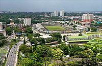 Aerial view of Yangon: Aung San Stadium. Yangon. Myanmar