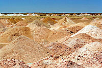 Ore slap heaps left by blowers. Coober Pedy, opal capital of the world. South Australia, Australia
