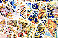 Detail of 'trencadís' (lit. 'breakage'), typical handmade work by Gaudí with pieces of ceramics