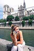 Notre Dame cathedral from Seine River (lateral facade). Paris. France.