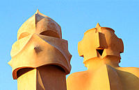 Chimneys at the rooftop of Casa Milà (aka 'La Pedrera', 1906-1912), by Gaudí. Barcelona. Spain