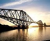 Forth rail bridge at sunrise. Scotland