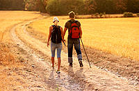 Couple walking on the countryside