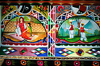 Detail of colourful bus from Pakistan about folk life. Smithsonian Institution. Washington D.C. USA