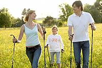 Nordic Walking, family, leisure time, meadow,