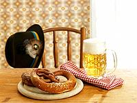 Pretzels and Beer on Table (thumbnail)