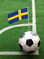 Swedish Flag on Top of Soccer Ball