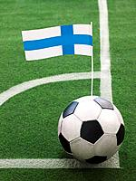 Finnish Flag on Top of Soccer Ball